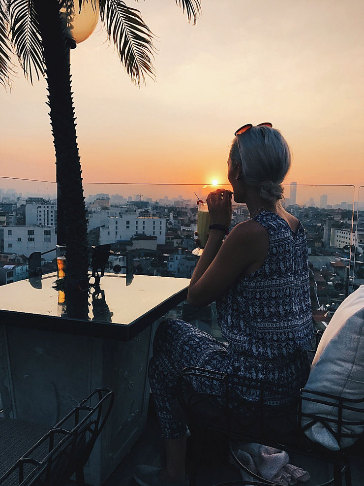 Rooftop drinks at SkyBar, Top things to do in Hanoi, Vietnam with Girl Going Global